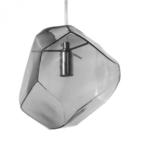 Ασύμμετρο κρεμαστό φωτιστικό γυάλινο διάφανο