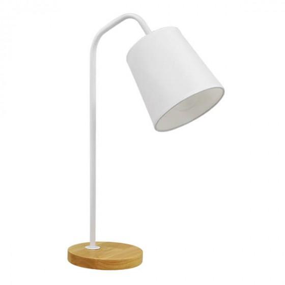 Μοντέρνο Φωτιστικό Γραφείου με Λευκό Καπέλο Ø13cm και Ξύλινη Βάση