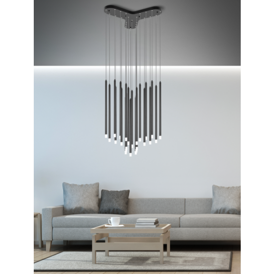 Πολύφωτο φωτιστικό LED Ø40cm με 24 κρεμαστά κυλινδράκια Ø2cm