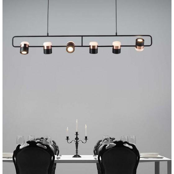 Μοντέρνο κρεμαστό εξάφωτο LED 135cm