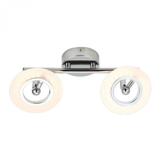 Δίφωτη ράγα οροφής LED 360° χρώμιο 34cm