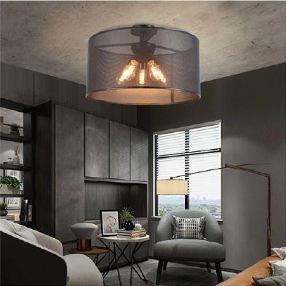 Πεντάφωτο φωτιστικό οροφής Ø50cm με διάφανο μαύρο αμπαζούρ