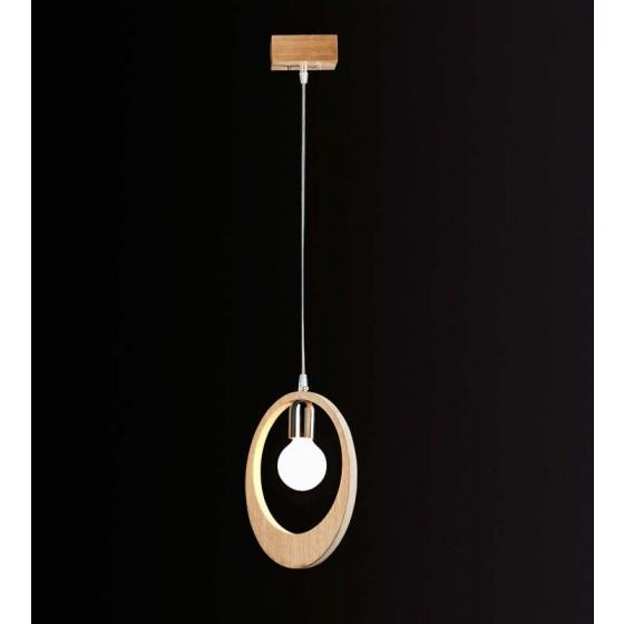 Ξύλινο κρεμαστό μονόφωτο με δαχτυλίδι Ø40cm