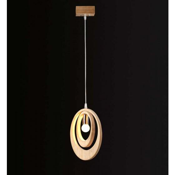 Ξύλινο μονόφωτο κρεμαστό με διπλό δαχτυλίδι Ø30cm