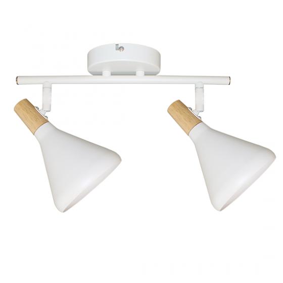 Δίφωτη ράγα οροφής 32cm με κωνικά σποτ λευκά με ξύλο
