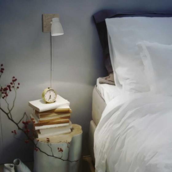Απλίκα τοίχου με ξύλινη βάση 12x12cm και λευκή κεφαλή