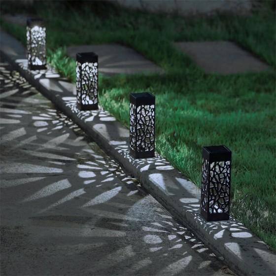 Ηλιακό φωτιστικό 18cm LED με αισθητήρα και καρφί - σετ 4 τμχ