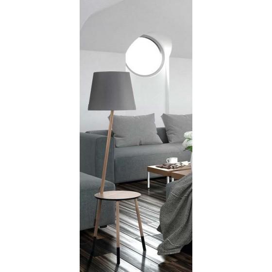 Ξύλινο φωτιστικό δαπέδου με έπιπλο