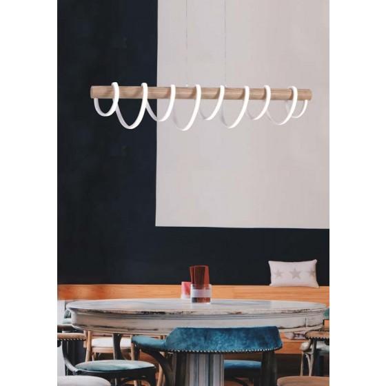 Κρεμαστό φωτιστικό LED 100cm με φυσικό ξύλο