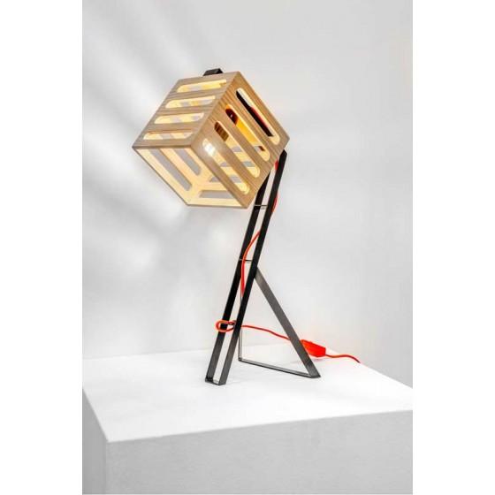 Επιτραπέζιο φωτιστικό με ξύλινη κεφαλή 15x15cm και μεταλλικό σώμα