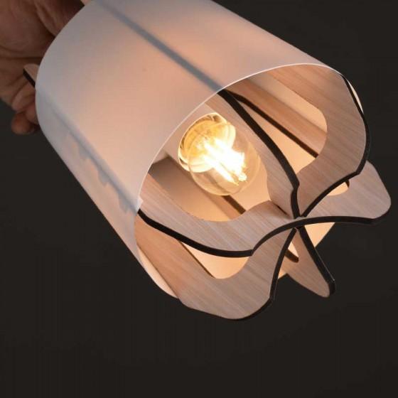 Λευκό φωτιστικό δαπέδου 160cm με ξύλινη κεφαλή