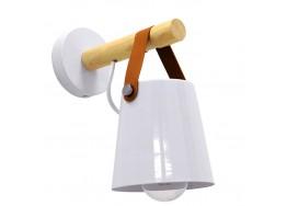 Μοντέρνο Φωτιστικό Τοίχου Απλίκα Μονόφωτο Λευκό με Ξύλο και Δερμάτινο Λουράκι Μεταλλικό Ø13cm