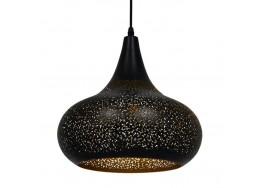 Μοντέρνο Κρεμαστό Φωτιστικό Μονόφωτο Μαύρο με Χρυσό Μεταλλικό Καμπάνα Ø30cm