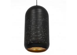 Μοντέρνο Κρεμαστό Φωτιστικό Μονόφωτο Μαύρο με Χρυσό Μεταλλικό Καμπάνα Ø20cm