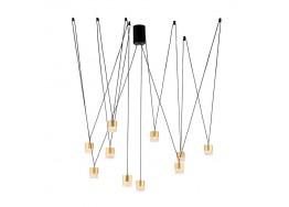 Κρεμαστό πολύφωτο LED μαύρο με χρυσαφί μήκους 150cm