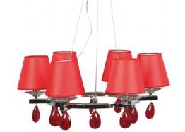 Εξάφωτος μοντέρνος πολυέλαιος Ø55cm με κόκκινα καπέλα και κρύσταλλα