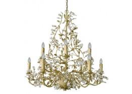 Εννιάφωτος πολυέλαιος Ø65cm με κηροπήγια και φύλλα σε χρυσό και λουλουδάκια από γυαλί
