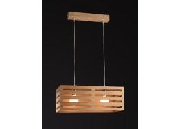 Δίφωτο ξύλινο κρεμαστό φωτιστικό 60cm