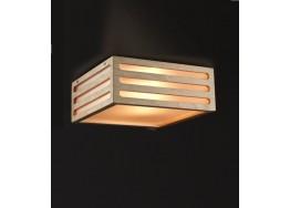 Δίφωτη πλαφονιέρα οροφής ξύλινη με πλαστική επένδυση