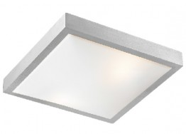 Τετράγωνη πλαφονιέρα οροφής ασημί από αλουμίνιο