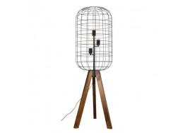 Τρίφωτο φωτιστικό δαπέδου με μεταλλικό κλουβί και  ξύλινο τρίποδο
