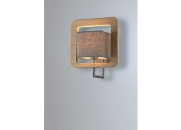 Ξύλινη τετράγωνη απλίκα με αμπαζούρ