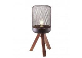 Επιτραπέζιο φωτιστικό 52cm με ξύλινο τρίποδο και κεφαλή από πλέγμα