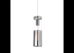 Γυάλινο κρεμαστό φωτιστικό κυλινδρικό Ø10cm χρώμιο