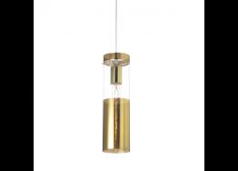 Γυάλινο κρεμαστό φωτιστικό κυλινδρικό Ø10cm χρυσαφί