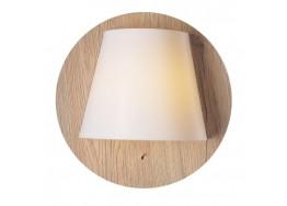 Ξύλινη απλίκα LED Ø25cm με πλαστικό λευκό καπέλο