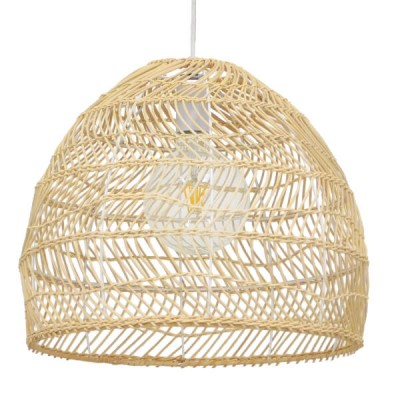 Κρεμαστό φωτιστικό καφέ καλάθι bamboo Φ40cm