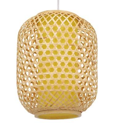 Κρεμαστό φωτιστικό καφέ ξύλινο bamboo Φ30cm