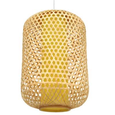 Κρεμαστό Φωτιστικό Μονόφωτο Ξύλινο Bamboo Ø40cm