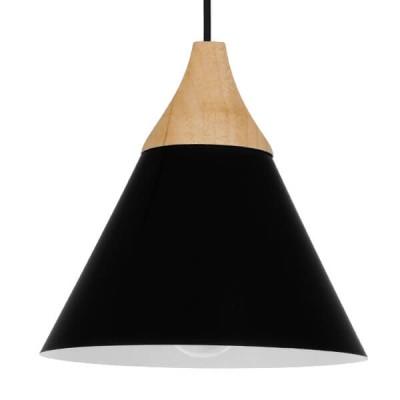 Μοντέρνο Κρεμαστό Φωτιστικό Μονόφωτο Μαύρο Μεταλλικό με Ξύλο Καμπάνα Ø23cm