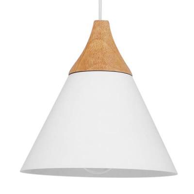 Μοντέρνο Κρεμαστό Φωτιστικό Μονόφωτο Λευκό Μεταλλικό με Ξύλο Καμπάνα Ø23cm