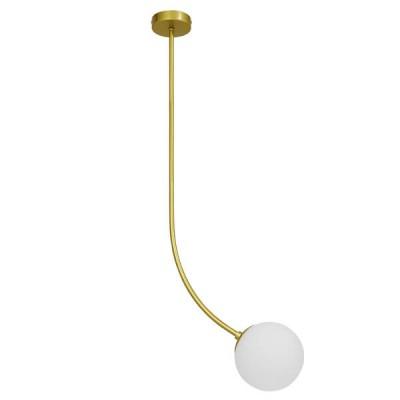 Μοντέρνο Φωτιστικό Οροφής Μονόφωτο Χρυσό 100cm με Λευκό Ματ Γυαλί Ø15cm