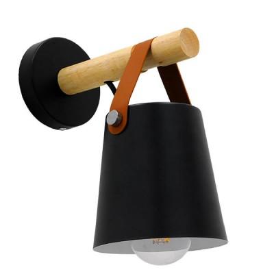 Μοντέρνο φωτιστικό τοίχου απλίκα μονόφωτο μαύρο με ξύλο και δερμάτινο λουράκι μεταλλικό φ13cm