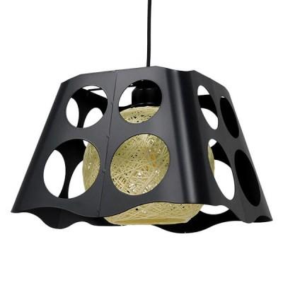 Μοντέρνο Industrial Κρεμαστό Φωτιστικό Μονόφωτο Μαύρο με Εκρού Μεταλλικό Πλέγμα 28x28x22cm