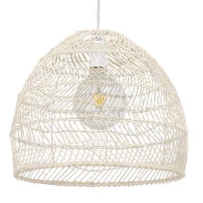 Κρεμαστό φωτιστικό λευκό μπέζ καλάθι bamboo Φ40cm