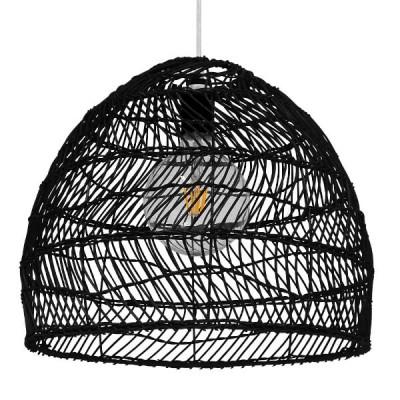 Κρεμαστό Φωτιστικό Μαύρο Καλάθι Bamboo Ø40cm