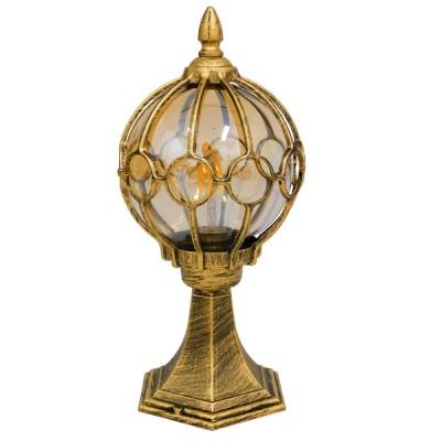 Vintage Industrial Φωτιστικό Δαπέδου Μονόφωτο Μπρονζέ Χρυσό Μεταλλικό Πλέγμα με Μελί Γυαλί Ø18cm