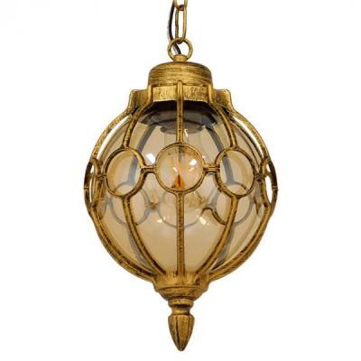 Vintage Industrial Κρεμαστό Φωτιστικό Μονόφωτο Μπρονζέ Χρυσό Μεταλλικό Πλέγμα με Μελί Γυαλί Ø18cm