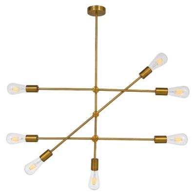 Μοντέρνο Industrial Πολύφωτο Οροφής Χρυσό Μεταλλικό Ø75cm