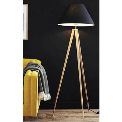 Φωτιστικό δαπέδου 154cm με ξύλινο τρίποδο και μαύρο αμπαζούρ Ø50cm