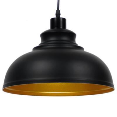 Μοντέρνο κρεμαστό φωτιστικό μονόφωτο μαύρο μεταλλικό καμπάνα Φ35cm