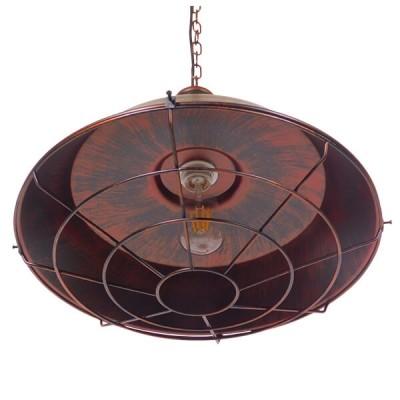 Vintage industrial κρεμαστό φωτιστικό καμπάνα με πλέγμα Φ46cm σκουριά