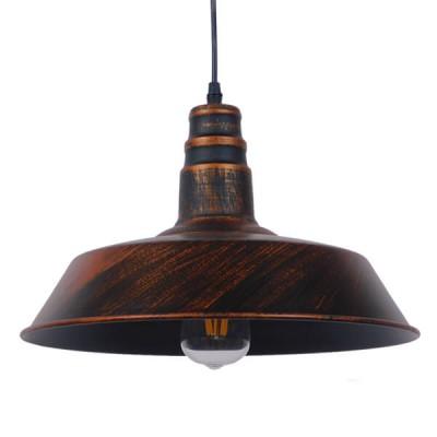 Vintage industrial κρεμαστό φωτιστικό καμπάνα Φ36cm σκουριά