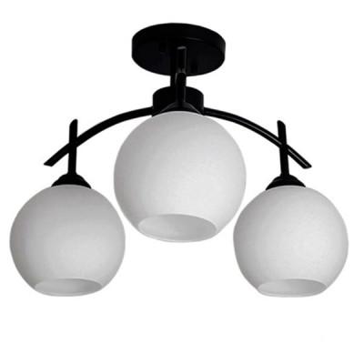 Μοντέρνο Φωτιστικό Οροφής Τρίφωτο Μαύρο Μεταλλικό με Λευκό Γυαλί Ø45cm