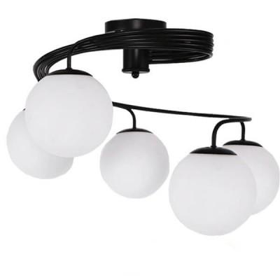 Μοντέρνο Φωτιστικό Οροφής Πολύφωτο Μαύρο Μεταλλικό με Λευκό Γυαλί Ø63cm