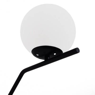 Μοντέρνο Επιτραπέζιο Φωτιστικό Μαύρο με Λευκό Γυαλί Ø15cm